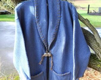 Vintage 1970s Retro Blue Shawl Collar Cardigan Handmade Mackinaw Cotton Designer Sweater Earth Indigo Blue and Brown Leather Laces Pockets