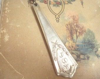 Silver Plate Spoon Handle Stamped Key Chain Happy Happy Joy Joy
