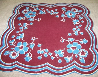Vintage Scalloped Blue & Burgundy Floral Hanky