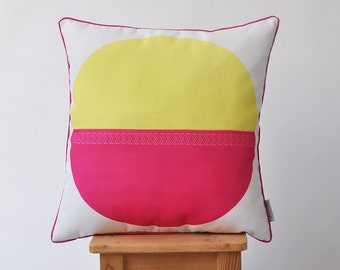 """ON SALE Geometric Decorative Pillow, Modern Throw Pillow, Kids Pillows, Nursery Pillow, Hot Pink & Yellow 16"""" x 16"""""""