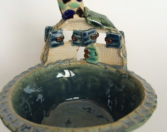 Fairy House Trinket or Condiment Bowl - Blue-Green