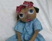 One of A Kind Primitive Folk Art Doll,  Abbie Folk Art doll, Primitive Folk Art Doll