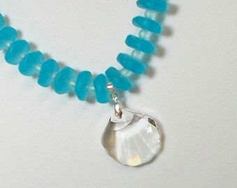 Swarovski Crystal Seashell Pendant With Aqua Sea Glass Bead Necklace