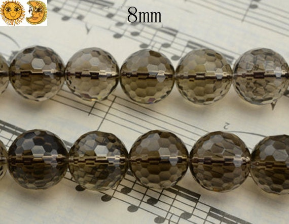15 inch strand of Smoky Quartz faceted(128) round beads 8mm