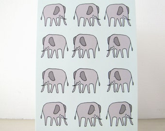Elephant Greeting Card - Any Occasion - Blank Note Card - Stationery - grey gray pale mint green animal baby whimsical illustration