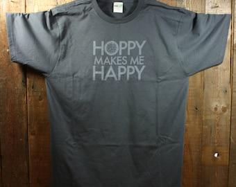 Hoppy Makes Me Happy T-Shirt - Dark Gray