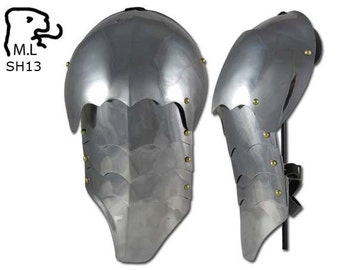 New Medieval pair of pauldron in stainless steel Armor Larp SH13