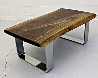 live edge black walnut coffee table with chrome legs