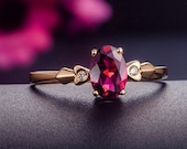 Engagement Ring -  0.7 Carat Red Tourmaline Engagement Ring With Diamonds In 14K Rose Gold