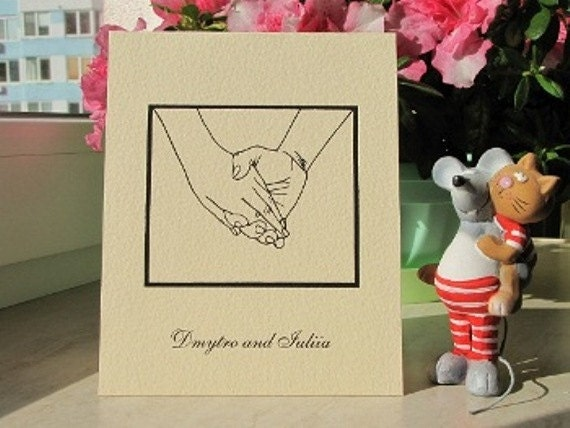 Personalized Greeting Card Holding Hands Handmade