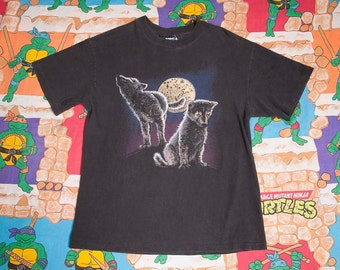 Black Wolf Puppies T-Shirt Size L