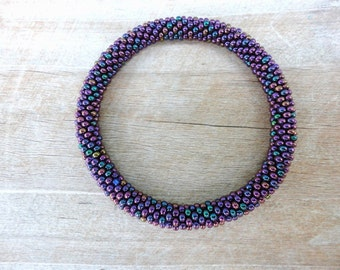 Metallic Peacock Purple Beaded Bracelet, Seed Beads,Nepal, MB1