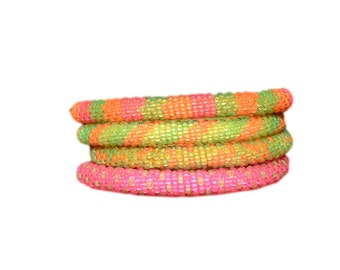 Colorful Neon Handmade Beaded Bracelets Set, Seed Beads,Nepal, BS110