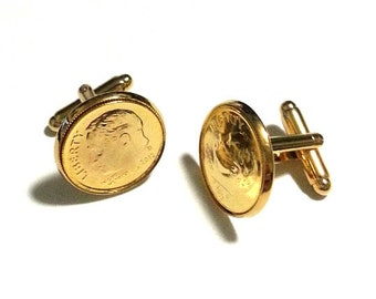 24K Gold Dime Cufflinks - Dime In (Diamond play on words) Gold Cuff Links SALE!