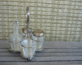 Vintage Silver Plated and Glass Salt and Pepper, Condiment Caddy, Cruet Carousel