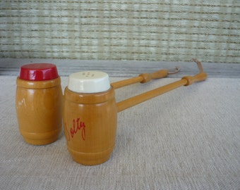 Vintage Salt and Pepper Shakers with Wooden Handles, Salty and Peppy