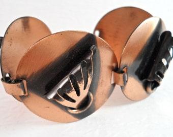 Mod Abstract Design Copper Bracelet Vintage Jewelry