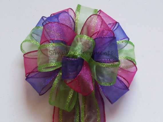 Purple Lime Pink Easter Wreath bow Pink Green Purple Birthday Party decor Whimsical Spring Birthday Shower Bow Easter Gift Basket Bow