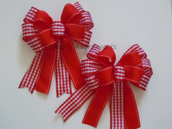 2 Red White Gingham Check Gifts Bows Red White Check Bow Country Christmas Tree Bows Country Wreaths Garland Bows Christmas Decor Tree Bows