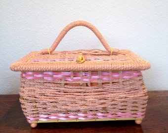 vintage 1960s pink sewing basket with sewing supplies, vintage sewing box, craft supplies box, storage box, sewing supplies