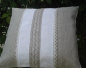 Decorative pillow case organic washed linen and lace gray off white pure linen gift 20x20