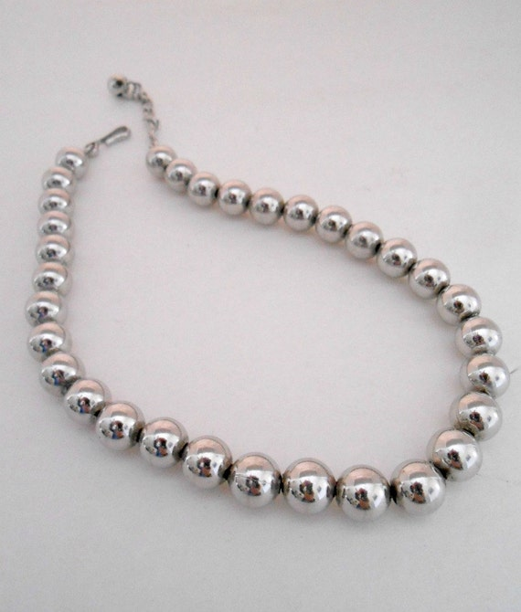 silver metal steel bead necklace choker vintage