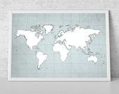 World Map Art Travel  Print Poster, Wanderlust, Poster World Map, Travel Decor, Vintage World Map Print, Wall Art - LARGE - MEDIUM SIZE