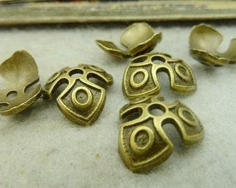 50PCS antique bronze 5x14mm flower bead cap- WC4376