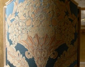 Venetian Lamp Shade Blue Silk Damask Rubelli Labuan Pattern Half Lampshade - Handmade in Italy