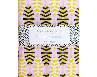 Shweshwe Shields in Pink Table Runner