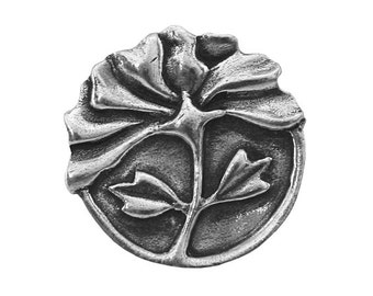 Danforth Peony 7/8 inch ( 22 mm ) Pewter Metal Button