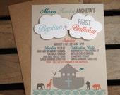 Noah's Ark Themed Invitation- 3D Clouds - CUSTOM Birthday Baptism Baby Shower - Teal Aqua Gray Orange - Boat Animals Cross - Recycled - Eco