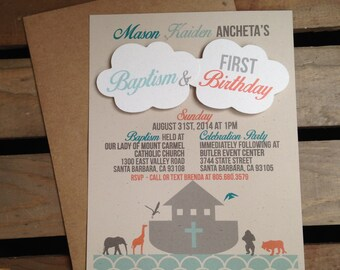 Noah's Ark Themed Invitation- Clouds - CUSTOM Birthday Baptism Baby Shower - Boat Animals Cross - Recycled - Eco - DIGITAL - DIY - Printable