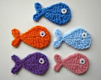 """1pc  4"""" Crochet FISH Applique"""