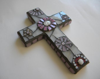 Pink and White Mosaic Cross