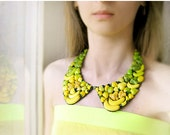 SALE Peter Pan Collar Necklace Happy Vegetables ombre yellow and green, statement necklace, bib necklace, detachable collar, chunky necklace