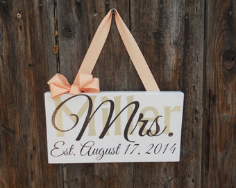 Custom Layered Mr. and Mrs. Hanging Sign Set/ Photography Prop Set