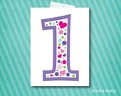 Birthday candle photo prop printable - number 1 girl