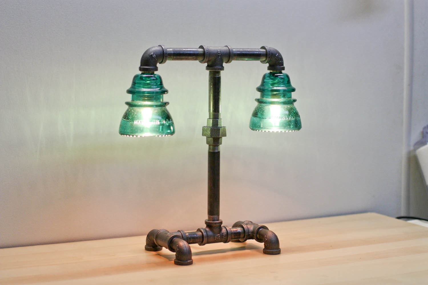 Steampunk desk lamp steampunk desk lamp - Aqua Blue Green Glass Insulator Dual Light Desk Lamp