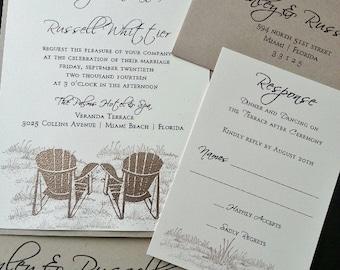 Beach Chairs Wedding Invitation,  Destination Wedding, Beach Wedding Invitation, Wedding Invitations, Tropical Wedding Invitation, Nautical