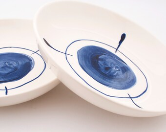 Set of two simple, modern, Delft blue hand painted earthenware ceramic pasta or soup bowls or plates  MADE TO ORDER