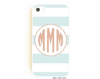 Monogrammed iPhone 4S Case. Monogrammed iPhone 4 Case. Subtle Stripe. Phone Case. Phone Cases. Personalized. Custom.