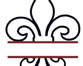 Split Fluer de Lis Applique Embroidery Design - Instant Download