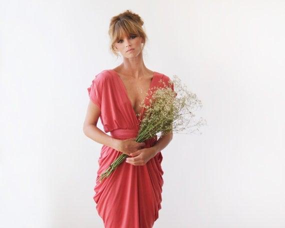 Coral bridesmaids dress , Knee length bridesmaids gown 1007