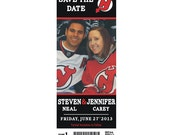 NFL, NBA, NCAA or College Football & Basketball Sports Game Ticket Stub Save the Date Wedding Photo Magnet