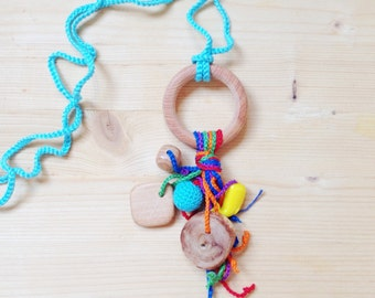 NEW Sweet dream catcher - nursing necklace with juniper wood ring teether and rainbow juniper wood button rattle by kangarusha