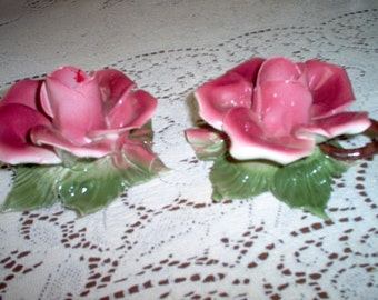 Lovely Pair of Capo Di Monte Mauve Flower Candle Holders