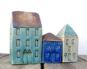 Turquoise House,Man Cave,Gift For Him, Collectible, Ceramic Sculpture,Teal And Brown