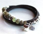 Gemstone leather bracelet green garnet beaded bracelet