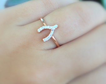 CZ Wishbone Ring Sterling, Rose Gold or Yellow Gold plated